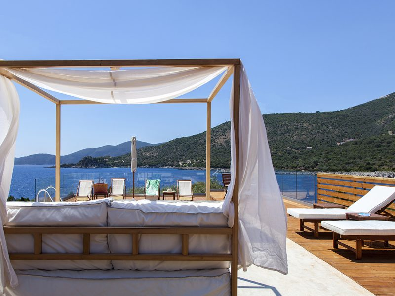 villa alma ammouso lefkada greece sunbed lounge with seaview