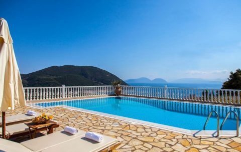villa dream vasiliki lefkada greece private pool looking in vasiliki bay