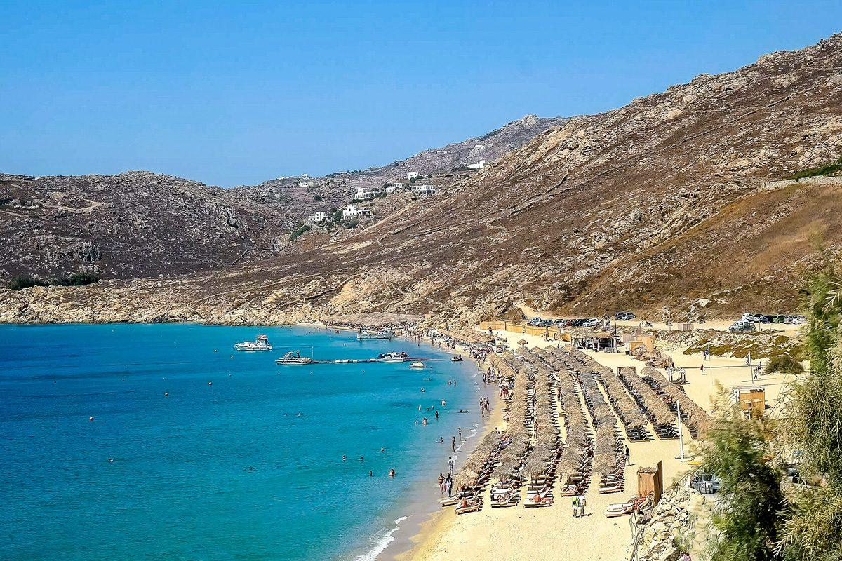 high angle shot of the popular elia beach on mykonos, greece