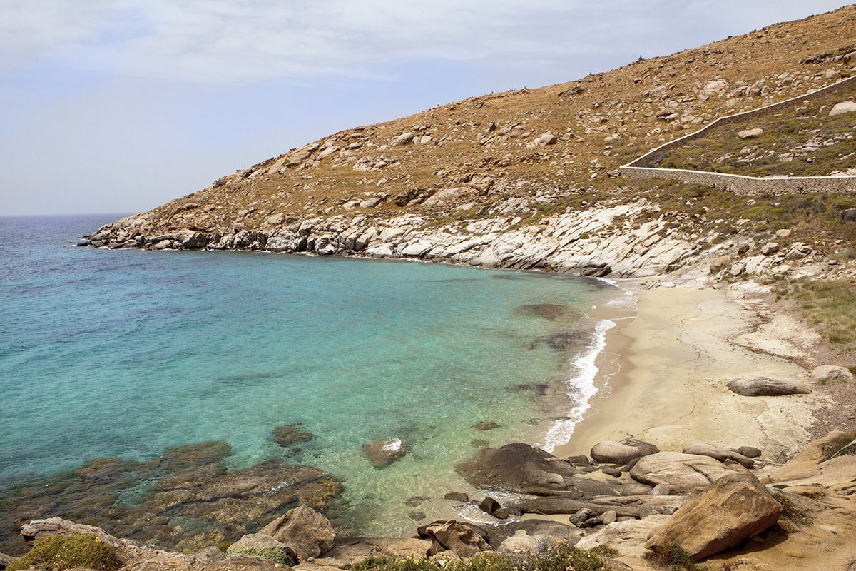 Kapari is one of the most exotic beaches in Mykonos, Cyclades, Greece. It is located next to Agios Ioannis resort (Saint John)