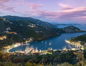 sivota village night view lefkada island greece