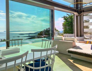 villa blue infinity syvota epirus greece dining and lounge space