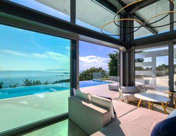 villa blue infinity syvota epirus greece lounge space with pool view
