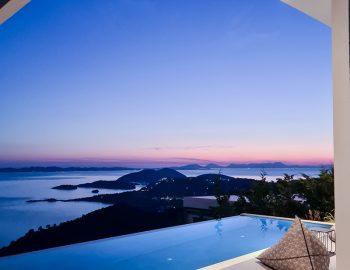 villa blue ionian syvota epirus greece pool sunset view