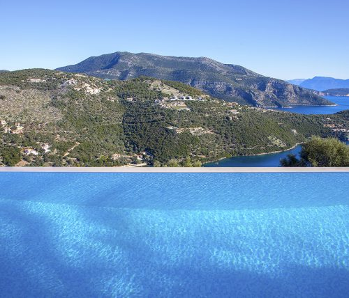 villa luxe sivota lefkada greece with large infinity pool offering view on sivota bay