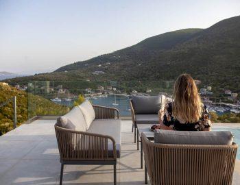 villa roya sivota lefkada greece outdoor lounge with girl