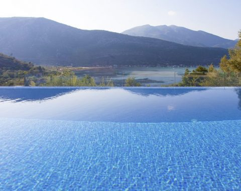 infinity pool in private villa theia on lefkada island